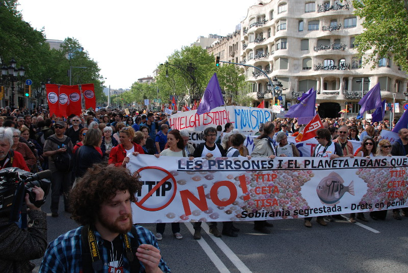 Demonstration mod TTIP, Barcelona 18. april 2015