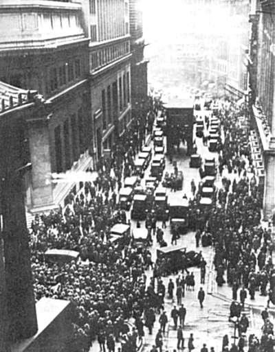 Usa går konkurs. wall street i new york ved børskrakket i 1929